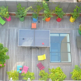 This is an example of a modern deck in Paris with a container garden.