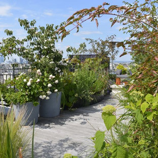 Example of a cottage chic deck container garden design in Paris