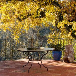 Immagine di un patio o portico country di medie dimensioni e nel cortile laterale con un giardino in vaso e nessuna copertura