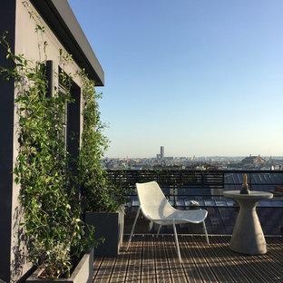 Cette photo montre une terrasse tendance avec aucune couverture.