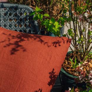 Ispirazione per un ampio patio o portico dietro casa con un giardino in vaso, pedane e una pergola
