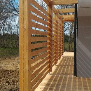 Idee per un patio o portico industriale di medie dimensioni e nel cortile laterale con pedane e una pergola