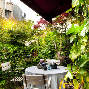 Idéer för en eklektisk terrass, med en vertikal trädgård och markiser