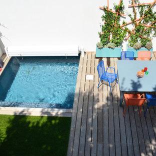 Modern inredning av en mellanstor terrass på baksidan av huset, med en vertikal trädgård