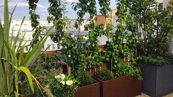 poiriers palissés dans es jardinières en Corten