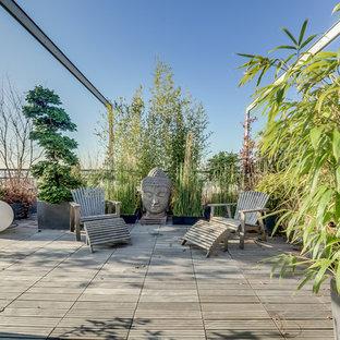 Esempio di una grande terrazza etnica sul tetto con un giardino in vaso e nessuna copertura