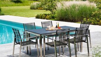 TABLE RECTANGULAIRE 1.5 X 0.9 M INOX ET GRC GRIS ANTHRACITE AVEC 6 FAUTEUILS