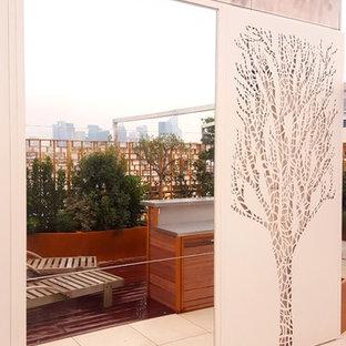 Esempio di un patio o portico minimalista di medie dimensioni e in cortile con un giardino in vaso, pedane e una pergola