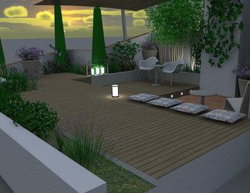 Terrasse avec vue sur la baie de Cannes