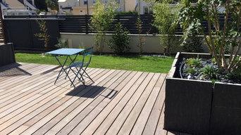 terrasse bois exotique et bacs ardoises