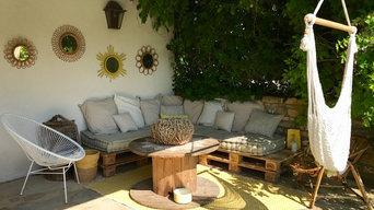 Terrasse couverte esprit récup et vintage