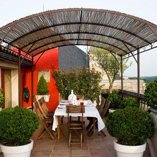 Cette photo montre une terrasse avec des plantes en pots chic de taille moyenne avec une pergola.