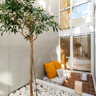 Cette photo montre une terrasse avec des plantes en pots scandinave avec aucune couverture.