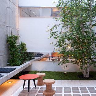 Aménagement d'une terrasse contemporaine de taille moyenne avec une cour, une terrasse en bois et aucune couverture.