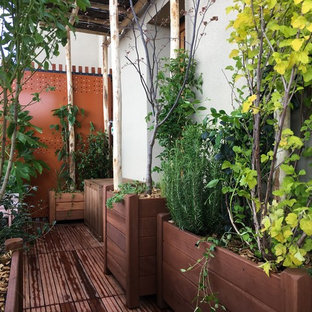Example of a small cottage chic deck container garden design in Paris with no cover