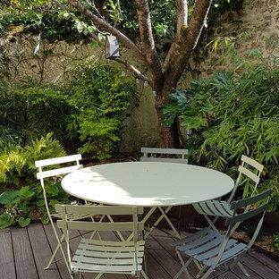 Ispirazione per un patio o portico etnico di medie dimensioni e in cortile con un giardino in vaso, pedane e nessuna copertura