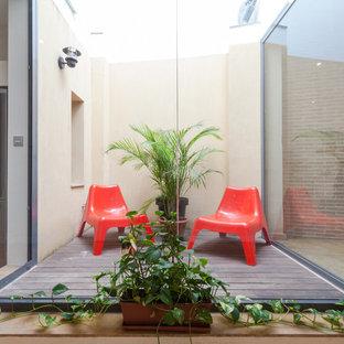 Idee per una piccola terrazza industriale con un giardino in vaso e nessuna copertura