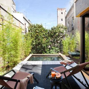 Ejemplo de terraza contemporánea, de tamaño medio, sin cubierta, en azotea, con jardín de macetas