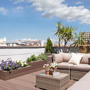Diseño de terraza contemporánea, sin cubierta, en azotea, con jardín de macetas