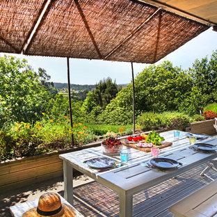 Imagen de terraza exótica, de tamaño medio, en patio lateral, con jardín de macetas y toldo