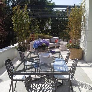 Ispirazione per terrazze e balconi design di medie dimensioni e nel cortile laterale con un giardino in vaso