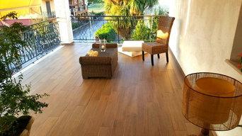 Terrazza pavimentata in gres effetto legno