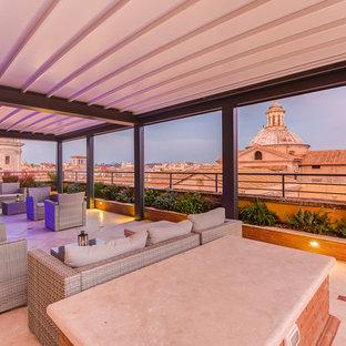 Esempio di un'ampia terrazza minimal sul tetto con un tetto a sbalzo