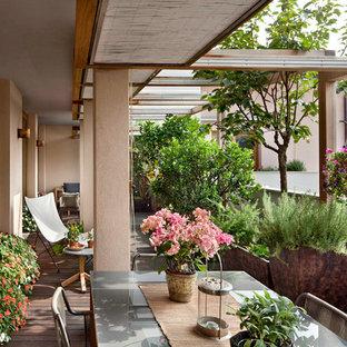 Immagine di grandi terrazze e balconi contemporanei sul tetto con un giardino in vaso e una pergola