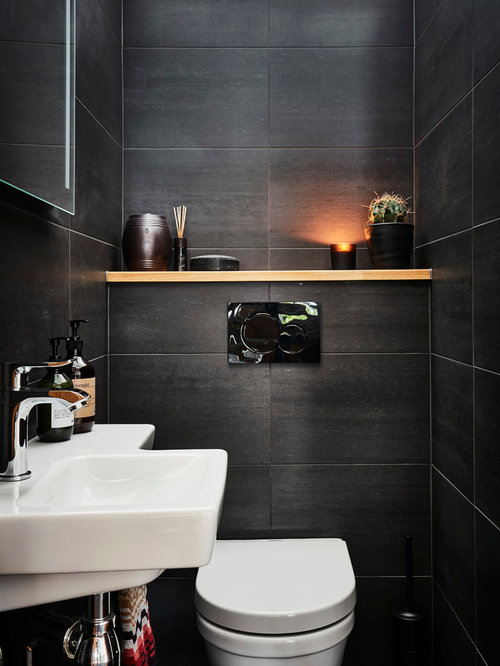 Small powder room design ideas remodels photos - Small powder room designs ...