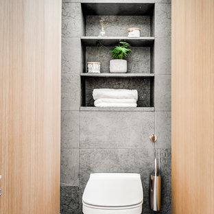Idéer för funkis toaletter, med grått golv