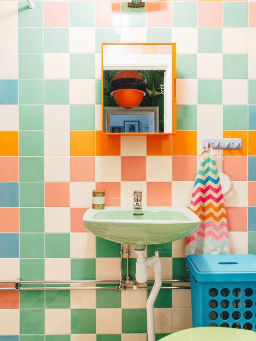 Foto e idee per bagni di servizio bagno di servizio con - Piastrelle verdi ...