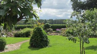 Grön trädgård på landet