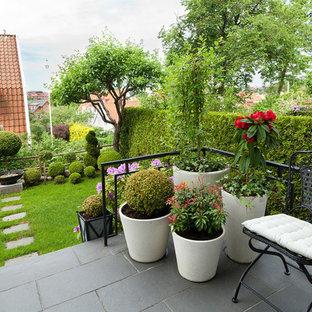 Inredning av en skandinavisk stor trädgård på sommaren, med marksten i betong