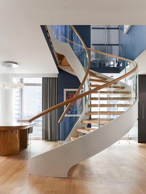 Inspiration For A Large Contemporary Wooden Spiral Open And Mixed Material  Railing Staircase Remodel In New
