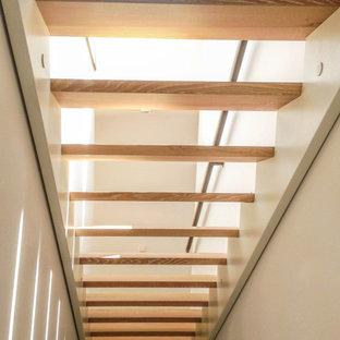 Imagen de escalera recta y papel pintado, moderna, de tamaño medio, sin contrahuella, con escalones de madera, barandilla de cable y papel pintado