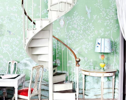 shabby chic style turquoise staircase design ideas. Black Bedroom Furniture Sets. Home Design Ideas