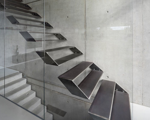 Mid Sized Contemporary Metal Straight Open Staircase Idea In Stuttgart