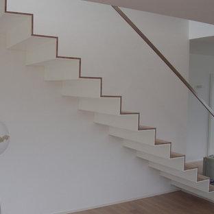 Esempio di una grande scala a rampa dritta minimalista con pedata in legno verniciato, alzata in legno verniciato e parapetto in metallo