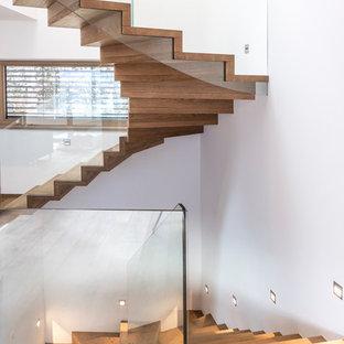 Ispirazione per una scala curva design con pedata in legno, alzata in legno e parapetto in vetro