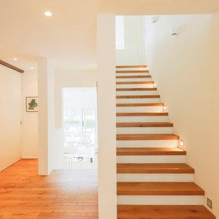 Imagen de escalera recta, contemporánea, de tamaño medio, con escalones de madera
