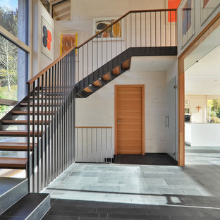 Example of a large midcentury modern painted l-shaped mixed material railing and open staircase design in Munich