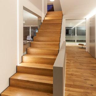 Ispirazione per un'ampia scala a rampa dritta design con pedata in legno e alzata in legno