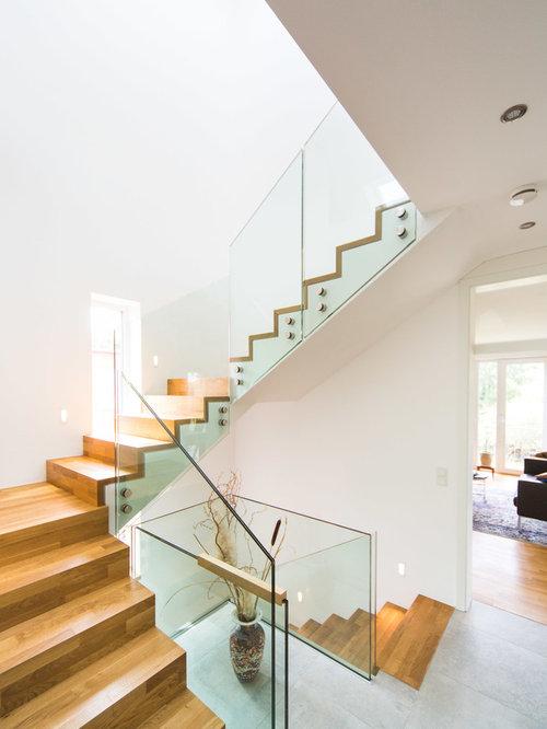 setzstufen mittelgroae moderne holztreppe in l form mit holz und glasgelander frankfurt am treppe nachtraglich