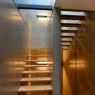 Mittelgroße Moderne Holztreppe In U Form Mit Offenen Setzstufen In Stuttgart