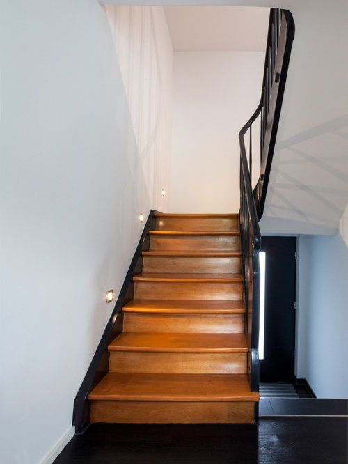moderne treppen mit gebeizten holz setzstufen ideen design bilder houzz. Black Bedroom Furniture Sets. Home Design Ideas