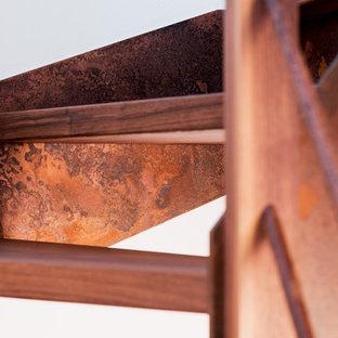 Ispirazione per una scala curva industriale di medie dimensioni con pedata in legno e parapetto in metallo