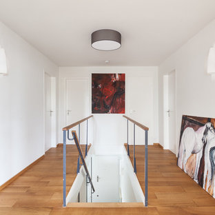 Staircase - mid-sized scandinavian straight staircase idea in Munich with wooden risers