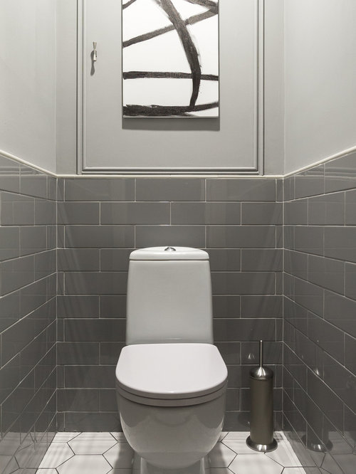 Photos et id es d co de wc et toilettes avec un carrelage for Carrelage wc gris