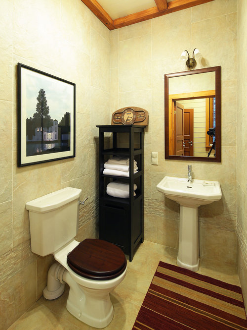 50 Porcelain Floor Powder Room with a Pedestal Sink Design Ideas ...