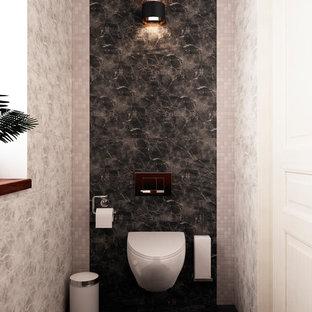 Источник вдохновения для домашнего уюта: маленький туалет с плоскими фасадами, коричневыми фасадами, инсталляцией, серой плиткой, керамической плиткой, белыми стенами, полом из керамогранита, накладной раковиной, столешницей из дерева, серым полом и коричневой столешницей